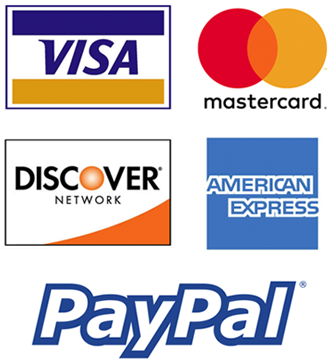 We Accept: Visa, MasterCard, American Express, Discover, PayPal